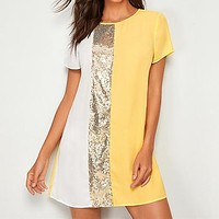 Sequin Detail Colorblock Tunic Short Dress Women Keyhole Back Short Sleeve Round Neck Straight Loose Casual Dresses