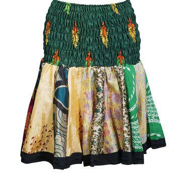 Recycled Sari Ruched Waist Flirty Skater Skirts For Womens S/L/M