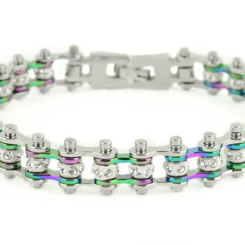 Mini Bling Crystal Bike Chain Rainbow
