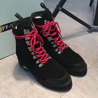 Off-White Women Fashion Casual Low Heeled Shoes Boots
