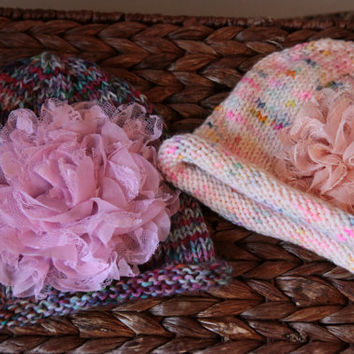 Pink Baby Hat / Hand Knit Baby Hat with Flower / 3-6 Months / Ready to Ship!