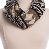 Warm Up Infinity Scarf,Taupe/Black
