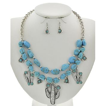 Turquoise Cactus Charm Necklace