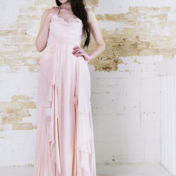 Before Sunrise- Royal Blush Wedding Gown  Bohemian full train flowers pearls