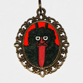 Krampus Necklace, Spooky Christmas, Horror Jewelry, Oval Pendant
