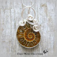 Ammonite Fossil Wire Wrapped Pendant Necklace in Silver - Healing Gemstone