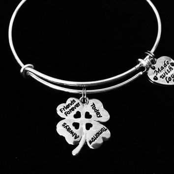 Friends Forever Expandable Charm Bracelet Silver Adjustable Wire Bangle Stacking Trendy Love You BFF Best Friend Gift