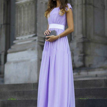 Cap Sleeves Prom Dress,Light Purple Prom Dresses,Long Evening Dress