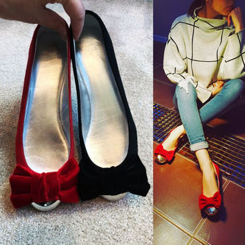 Summer Leather Metal Round-toe Flat Butterfly Shoes [4919914564]