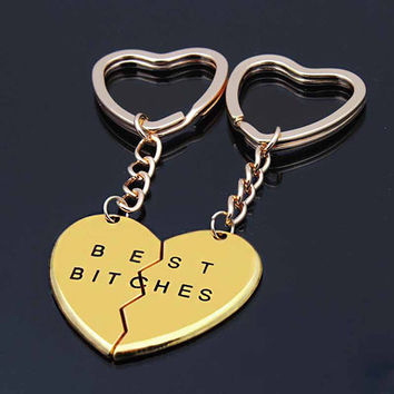 Friendship Forever Keychain Heart Pendant Pieces Broken Two Best Bitches Keyrings For Women Jewelry Gold Silver Colors SM6