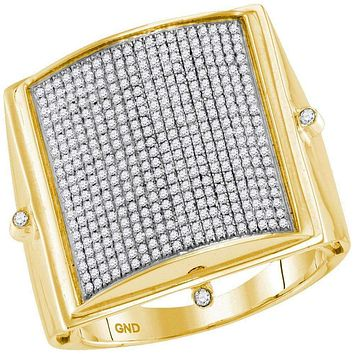 10kt Yellow Gold Men's Round Pave-set Diamond Square Dome Cluster Ring 7/8 Cttw - FREE Shipping (US/CAN)