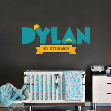 Name decal for nursery, Removable & Reusable Fabric Vinyl- Mustache- My little man Sticker