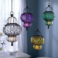 Purple Bohemian Handblown Glass Lantern - Includes 18in Chain & Hook - LED battery - No Wiring!