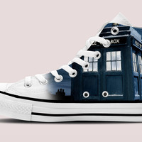 Doctor Who Tardis Hi-Top White Unisex Trainers