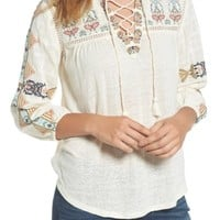 Lucky Brand Embroidered Lace-Up Top | Nordstrom