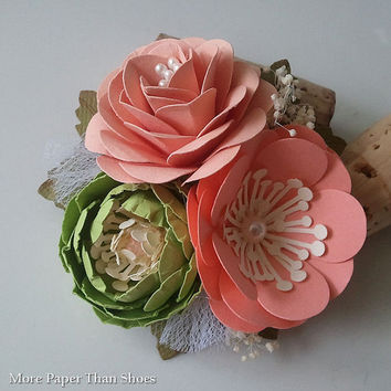 Paper Flowers - Handmade - Corsage - Weddings - Salmon - Peach - Apple Green - Made To Order - Set of 6