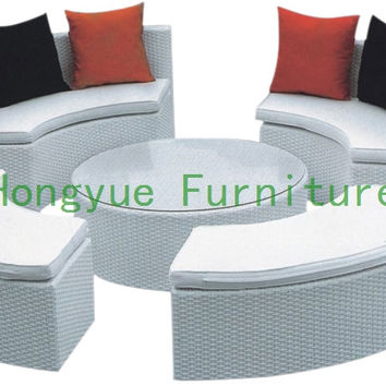 Outdoor rattan round sectional sofa with cushion,Outdoor furniture