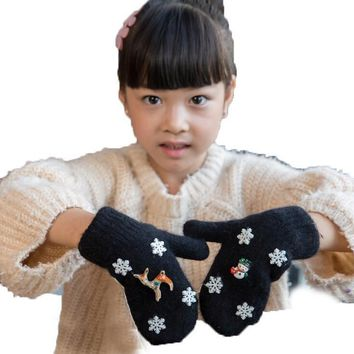 Retail Winter Children Unisex Christmas Elk Snowman Knit Gloves Kids Plus Velvet Keeping Warm Gloves ST0200 Free Shipping