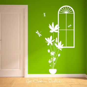Flower Bunch Wall Decal Sticker Tall Dragonfly Bouquet Window Stems Assorted Florist Nature Girls Bedroom Bathroom Living Teen Young Sweet