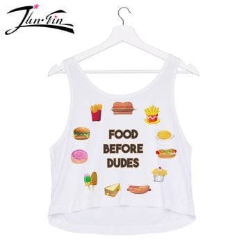 food before dudes Cute Bustier Crop Top Women Fittness  white tank top Sexy Halter Sleeveless  women Summer Style Printed Tops