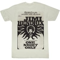 Jimi Hendrix Men's  Jimi At The Spectrum Slim Fit T-shirt Vintage White