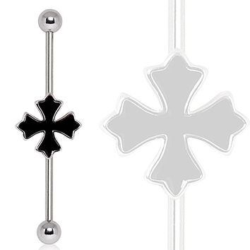 316L Industrial Barbell with Cross Patonce