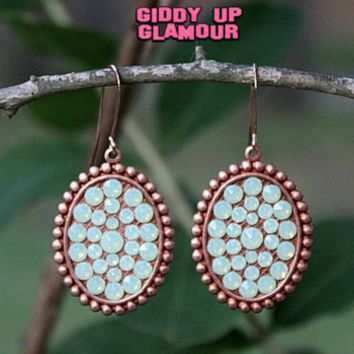 Pink Panache Small Rose Gold Oval Earrings with Mint Crystals