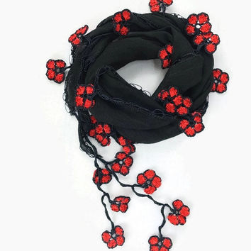 Black Scarf , Cotton cowl with crochet oya lace  flowers  ,  Womens foulard , Black cotton scarflette, Cotton bandana Gift ideas