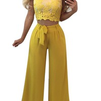 Lace Baer Shoudler Crop Top with Wide-Legs Chiffon Pants Two Piece Set