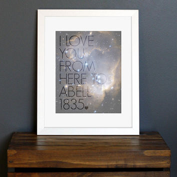 Science Geek Love Quote Art Print  celestial galaxy by CisforColor