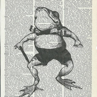 Book Print Cute Mr.Frog on Vintage Upcycle Book Page Print Art Print Dictionary Print Collage Print