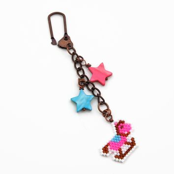 Pink And Blue Rocking Horse Charm And Decor With Pastel Star Bead Accent