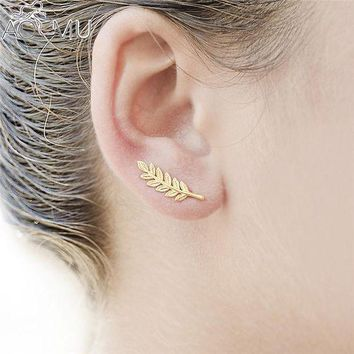 ac spbest AOMU 1Pair Rhinestone Girls Women Stud Earrings Leaf Ear Climbers Ear Crawlers gold color /dull silver color Fashion Jewelry