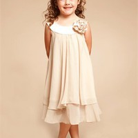 Elegant Quality Chiffon Champagne Double Layered flower girl dress FGD111
