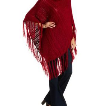 Oxblood Cowl Neck Fringe Poncho Sweater by Charlotte Russe