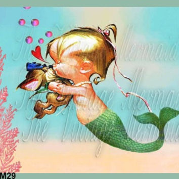 BABY MERMAID Merbaby Fabric Block Merbabies Print Quilt Square Applique Cotton Panel 8 x 10