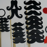 Father Day Photo Booth Mustache Party Props  34 Pc Mustache on a Stick