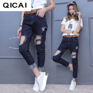 New 2016 autumn models in Europe and America women's fashion cotton jeans feet ankle-length jeans frayed micro Harlan long pants