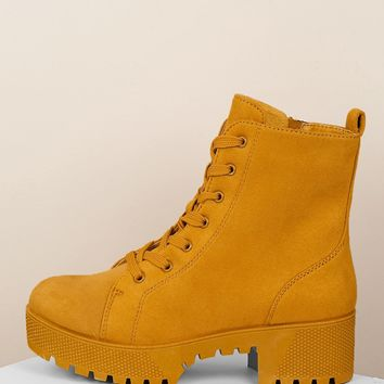 Lace Front Thick Sole Platform Military Boots