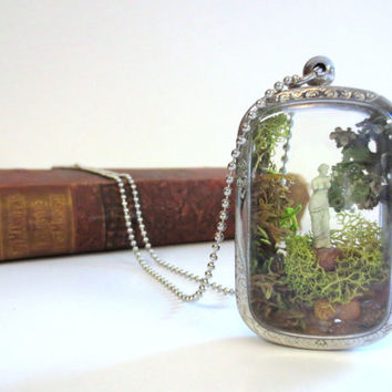 My Beautiful Lady...Mi Adonis...Miniature Terrarium Necklace Lovers Gift  Moss and Lichen Necklace Terrarium Necklace Garden Pendant