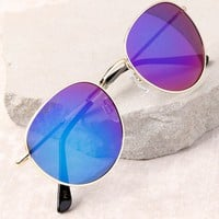 Perverse Lainey Gold and Blue Mirrored Sunglasses