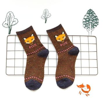 Animal Fox Wolf Stripes Socks Funny Crazy Cool Novelty Cute Fun Funky Colorful