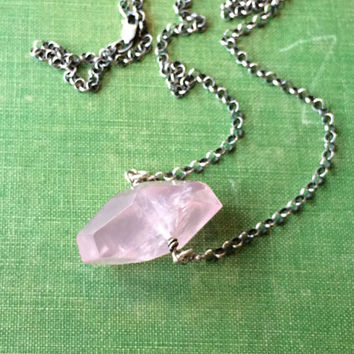 Rose Quartz Necklace, 925 Sterling Silver with Polished Faceted Nugget Semi Precious Stone, Minimal Crystal Jewelry, Pink and Silver, Gifts