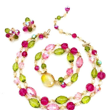 Hattie Carnegie Parure, Necklace Bracelet and Earring Set, Fuchsia Pink Green & Clear Crystal Beads, Givre Yellow Clasp, Designer Signed