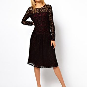 ASOS Lace Dress With Dropped Waist
