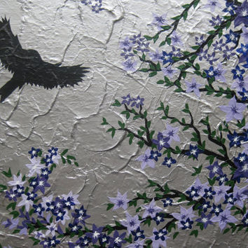 SALE purple painting of Japanese cherry blossom tree with bird  on canvas with textured silver canvas background art zen wall art