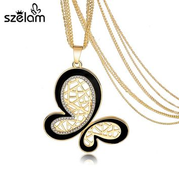 Vintage Butterfly Neckalces & Pendants With Crystal 2017 Retro Gold Color Chain Necklace Women Collier Jewelry Female Sne160119