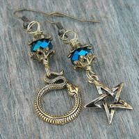 Snake Earrings, Serpent Earrings, Gothic, Goth, Occult, Pentagram Earrings, Pentacle, Witch, Witchcraft, Mismatched Earrings, Gold Earrings,