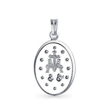 bling jewelry 925 Sterling Silver Virgin Mary Miraculous Medal Pendant
