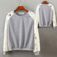 Women Fashion O-Neck Lace Floral Sleeves Sweatshirts Splicing Outerwear  F_F